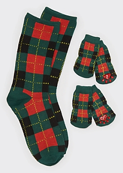 Green Plaid Print Matching Pet Sock Set