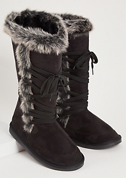 Black Faux Fur Trim Lace Up Tall Boots