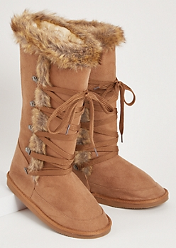 Cognac Faux Fur Trim Lace Up Tall Boots