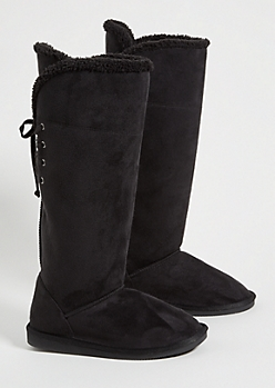 Black Faux Fur Lined Lace Up Back Knee High Boots