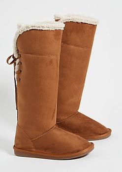 Cognac Faux Fur Lined Lace Up Back Knee High Boots