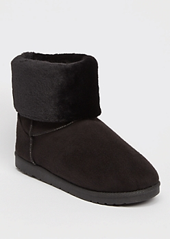 Black Faux Fur Fold Over Short Cozy Boots