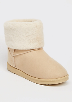 Taupe Faux Fur Fold Over Short Cozy Boots