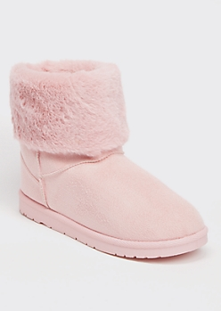 Light Pink Faux Fur Fold Over Short Cozy Boots