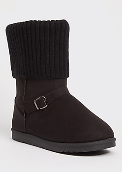 Black Knit Fold Down Buckled Cozy Boots