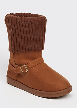 Camel Knit Fold Down Buckled Cozy Boots