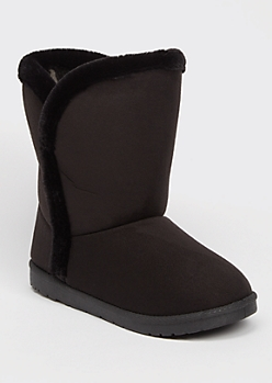 Black Faux Fur Trim Mid Rise Boots