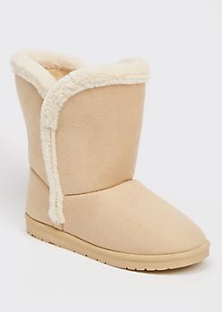 Taupe Faux Fur Trim Mid Rise Boots