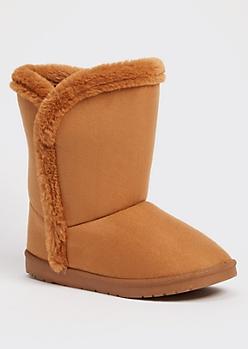 Camel Faux Fur Trim Mid Rise Boots
