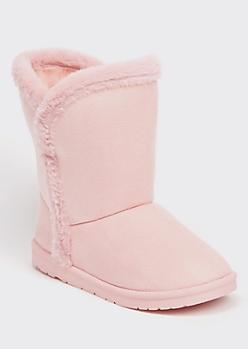 Pink Faux Fur Trim Mid Rise Boots