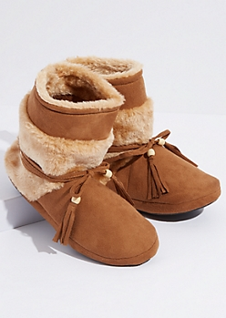Tan Faux Fur Tassel Strap Moccasin Boots