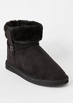 Black Knit Fold Down Short Boots