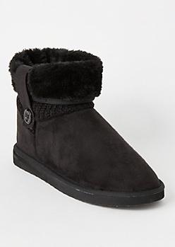 Black Knit Fold Down Short Boots