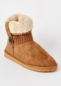 Cognac Knit Fold Down Short Boots