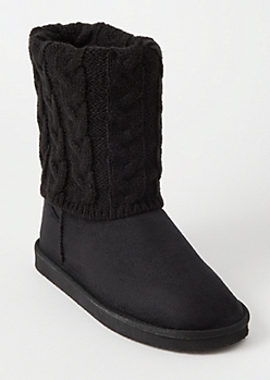 Black Cable Knit Fold Boots
