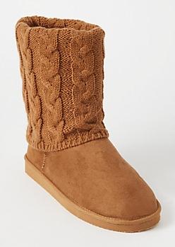 Cognac Cable Knit Fold Boots