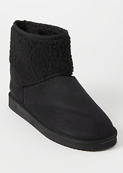 Black Sherpa Shaft Boots