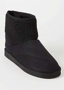 Black Sherpa Shaft Boots