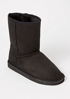 Black Faux Suede Boots