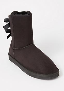 Black Ribbon Back Boots
