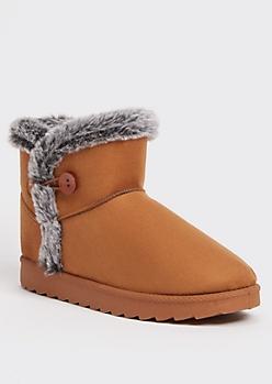 Brown Faux Fur Trim Short Button Boots