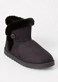 Black Fur Buttoned Boots