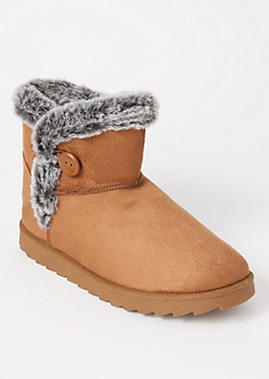 Brown Fur Buttoned Boots