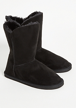 Black Faux Fur Lined Short Boots