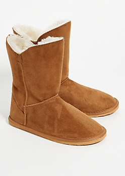 Camel Faux Fur Lined Short Boots