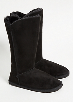 Black Faux Fur Lined Tall Boots