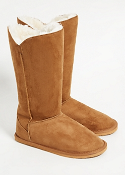 Camel Faux Fur Lined Tall Boots