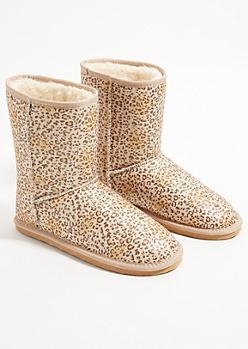 Leopard Print Glitter Faux Fur Lined Boots