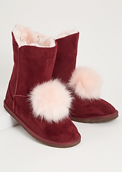 Burgundy Faux Fur Pom Pom Short Boots