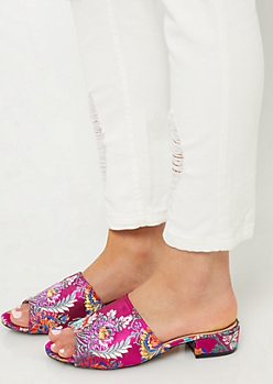 Fuchsia Embroidered Open Toe Mules