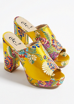 Gold Embroidered Open Toe Platform Mules