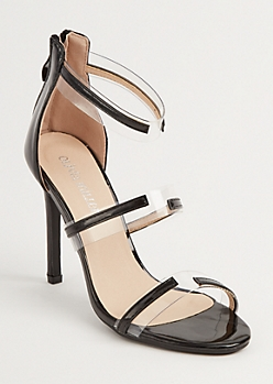 Black Three Strap Lucite Heels