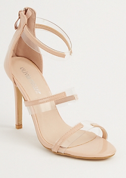 Nude Clear Strappy Stiletto Heels