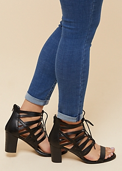 Black Strappy Lace Up Heels