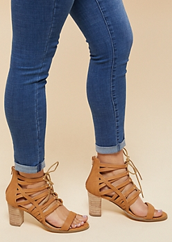 Cognac Strappy Lace Up Heels