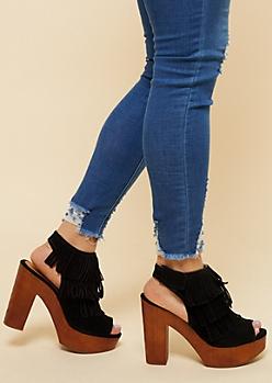 Black Fringe Peep Toe Wood Platform Heels