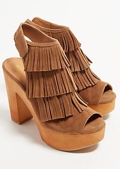 Camel Fringe Peep Toe Wood Platform Heels