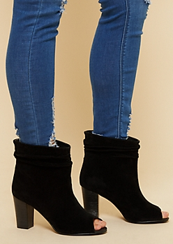 Black Slouchy Peep Toe Heeled Booties