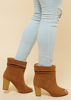 Cognac Slouchy Peep Toe Heeled Booties