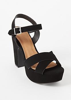 Black Crisscross Strap Platform Heels