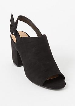 Black Peep Toe Slingback Mule Heels