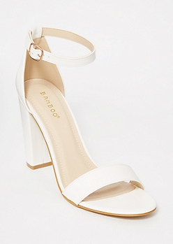 White Single Strap Block Heels