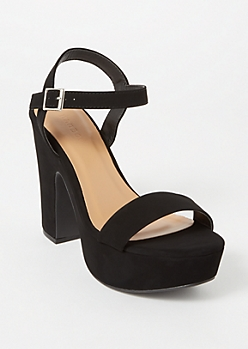 Black Matte Single Strap Block Heels