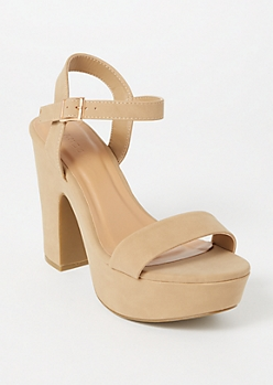 Tan Matte Single Strap Block Heels