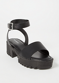 Black Lug Sole Low Heel Sandals