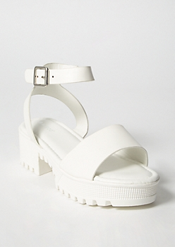 White Lug Sole Low Heel Sandals